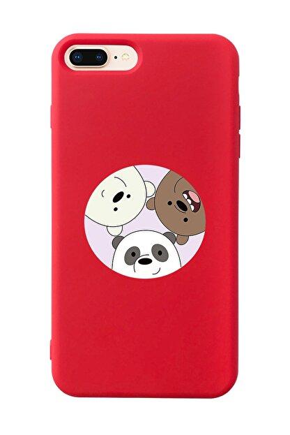 Mupity Kafadar Ayılar Tasarımlı Kırmızı Lansman Kılıf Iphone 7-8 Plus
