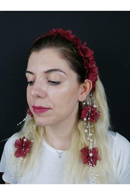 Hobigram Kadın Bordo Lazer Kesim Çiçekli Taç