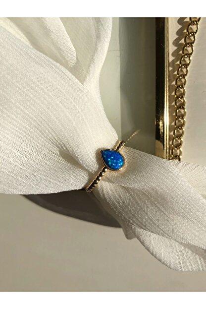 MİSSHİNG Kadın Damla Mavi Opal Taş Ayarlanabilir Yüzük