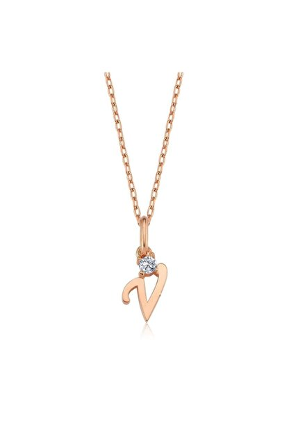 Mia Vento Mikro Minimal V Harfi Rose Renk Gümüş Kolye