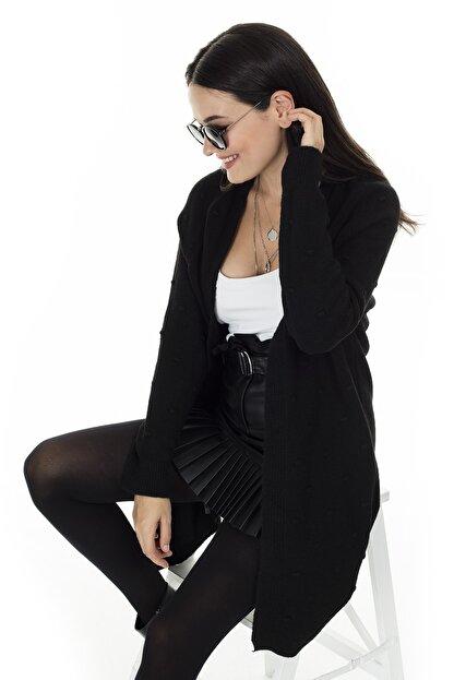 Lela Kadın Siyah Uzun Triko Hırka 4614825