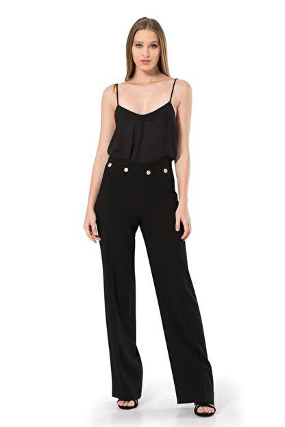 BİRELİN Kadın Siyah Düğme Detaylı Pantolon