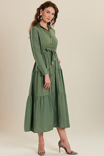GÜLSELİ Kadın Mint Yeşili Gömlek Yaka Düğmeli Uzun Elbise