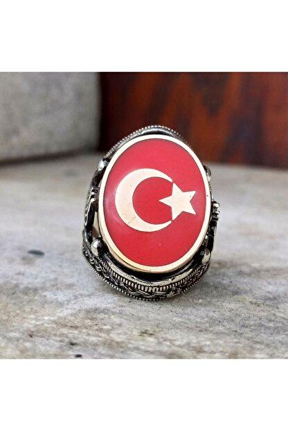 FKGÜMÜŞ Erkek Yüzük 925 Ayar Gümüş Kırmızı Mineli Ay Yıldız Işlemeli