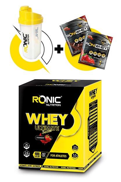 Ronic Nutrition Whey Ultimate Protein Tozu 4000 gr Çilek Aromalı Shaker ve 2 Adet Tek Kullanımlık Whey Protein