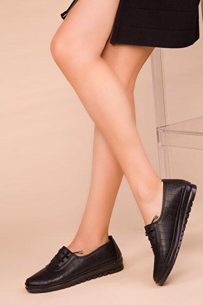 Soho Exclusive Siyah Kroko Kadın Casual Ayakkabı 15377