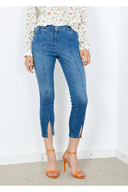 Adze Kadın Mavi 5 Cepli Pantalon Etek Detaylı Jean Pantalon
