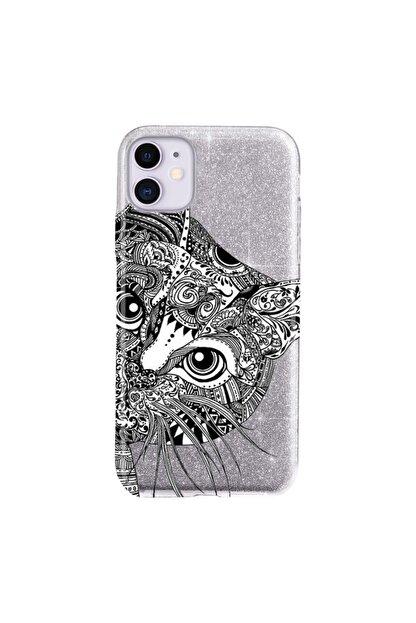 Cekuonline Iphone 11 Kılıf Simli Shining Desenli Silikon Gümüş Gri - Stok2121 - Tekir Kedi Mandala