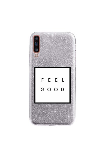 Cekuonline Samsung Galaxy A70 Kılıf Simli Shining Desenli Silikon Gümüş Gri - Stok1897 - Feel Good