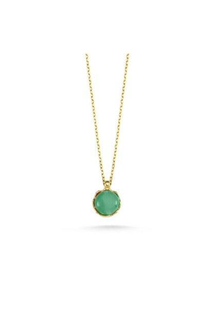 EnginGold Kadın Yeşil 14 Ayar Altın Taşlı Kolye