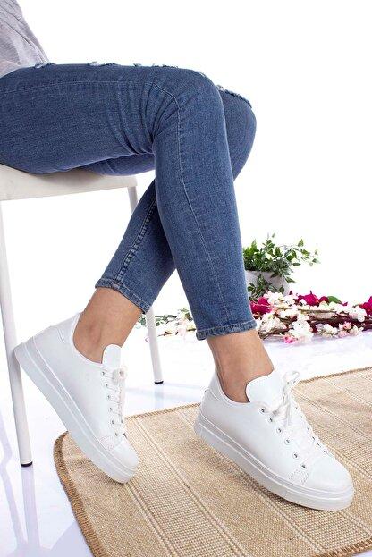 epaavm Kadın Beyaz Düz  Cilt Spor Ayakkabı