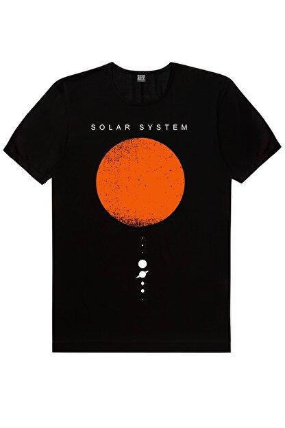 Rock & Roll Güneş Sistemi Siyah Kısa Kollu Erkek T-shirt