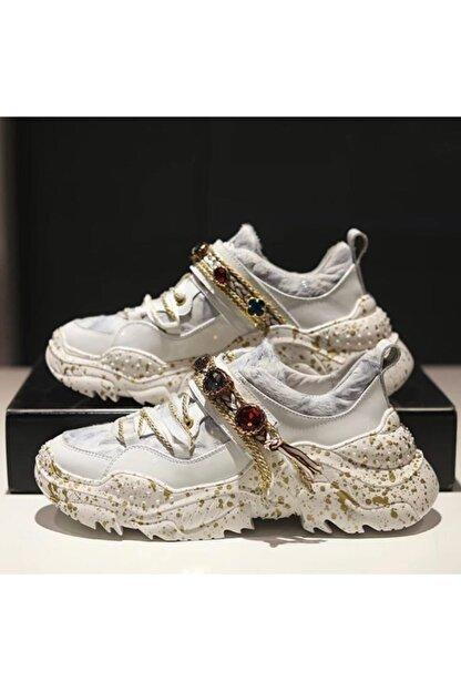 My Black Shoes Kadın Özel Taşlı Beyaz Sneaker