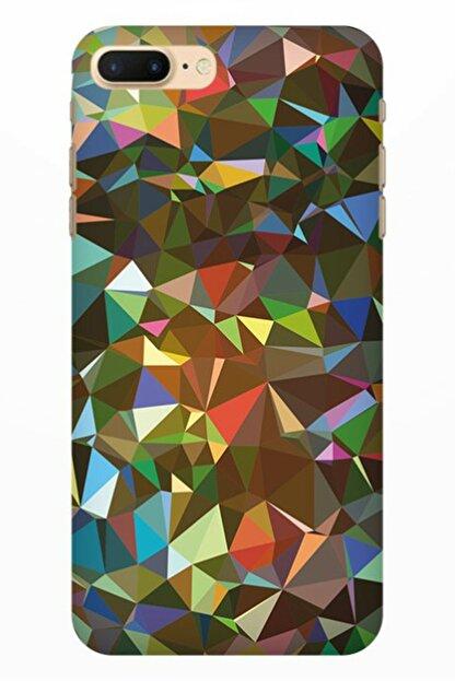 Cekuonline Iphone 7 Plus - 8 Plus Tıpalı Kamera Korumalı Silikon Kılıf - Mozaik
