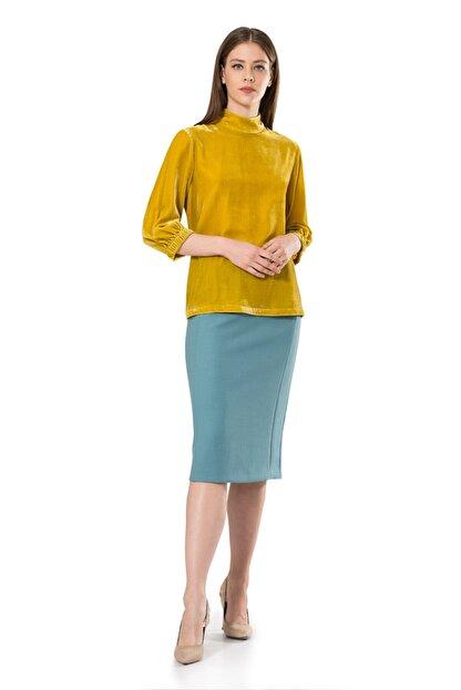 BİRELİN Kadın Sarı Truvakar Kol Kadife Bluz