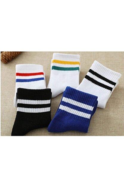 çorapmanya 5 Çift Unisex Karışık Renkli Çizgili Kolej Tenis Çorabı