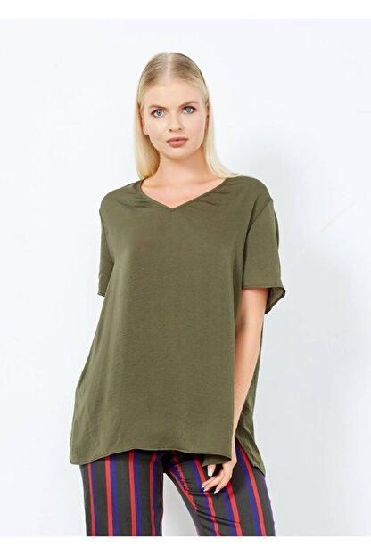 Adze Kadın Haki V Yaka Yan Yırtmac Basic Bluz Hakı M