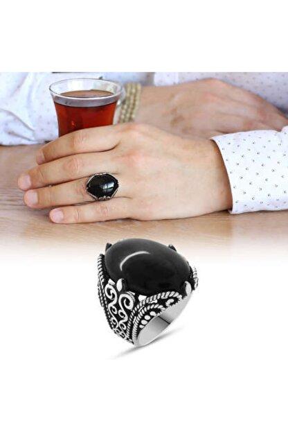 Kristal Gümüş Siyah Oniks Taşlı Ferforje Tasarım 925 Ayar Gümüş Erkek Yüzük