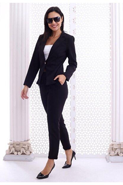 HOPANNİ Kadın Siyah Düz Pantolon Ceket Takım