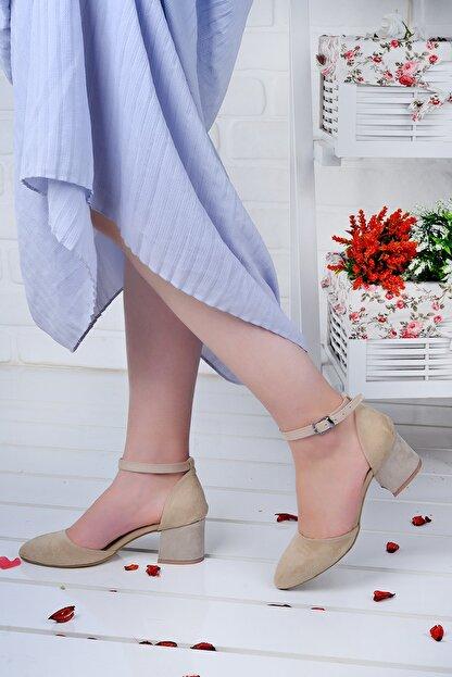 Ayakland 111012-347 Kadın Ten 5 cm Topuk Süet Sandalet Ayakkabı