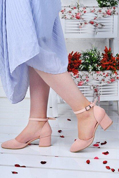 Ayakland 111012-347 Kadın Pudra 5 cm Topuk Süet Sandalet Ayakkabı