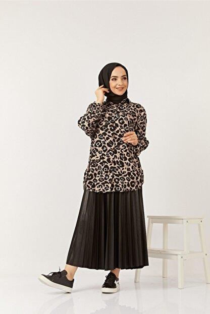 SAHRA BUTİK Kadın Siyah Büyük Beden Gömlek