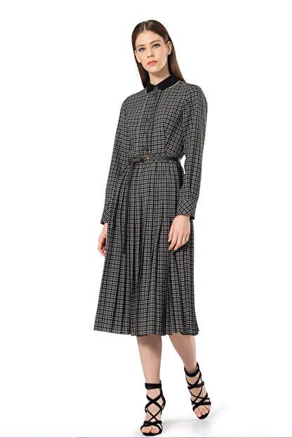 BİRELİN Kadın Siyah Triko Yakalı Kareli Elbise