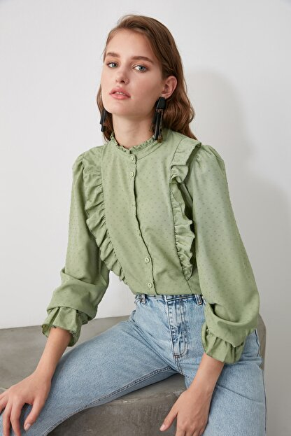 TRENDYOLMİLLA Mint Puantiyeli Gömlek TWOAW21GO0282