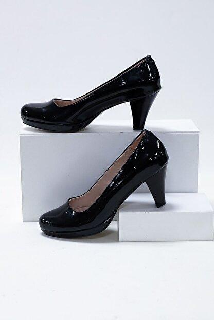 epaavm Kadın Siyah Rugan Platform Dekolte  Ayakkabı