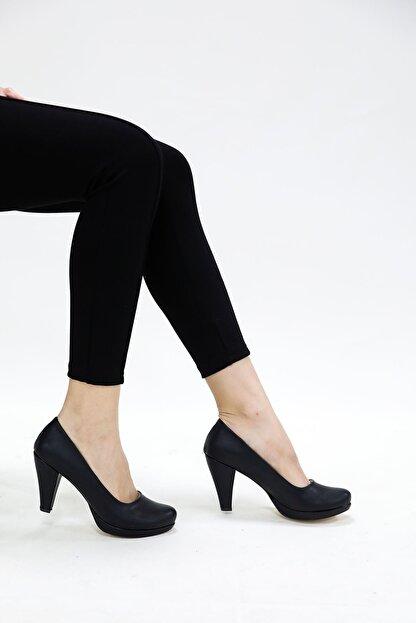 epaavm Kadın  Siyah Cilt Ayakkabı 10'luk Platform Dekolte