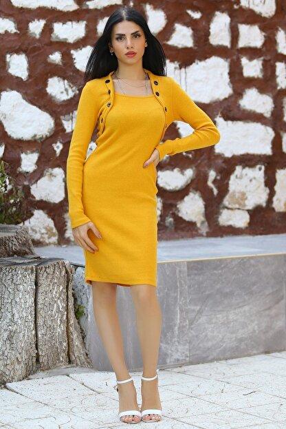 Modaymış Kadın Sarı Düğme Detaylı Elbise