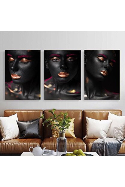 Simli Kanvas 0012-makyajlı Kadınlar Kanvas Tablo Seti 3 3adet-100x70cm