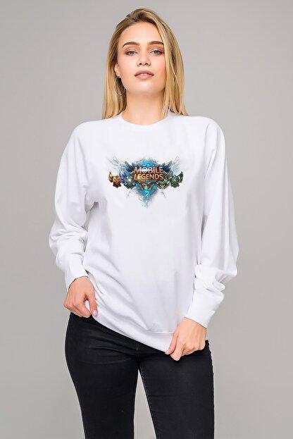 Collage Kadın Beyaz Lol Mobile Legends Bang Bang Baskılı Örme Uzun Kol Sweatshirt