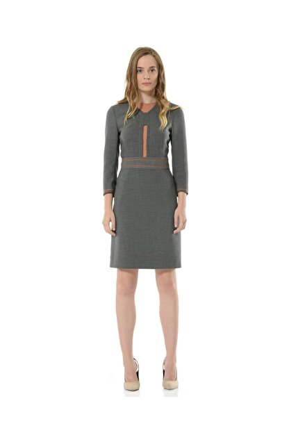 BİRELİN Kadın Gri Uzun Kollu Elbise