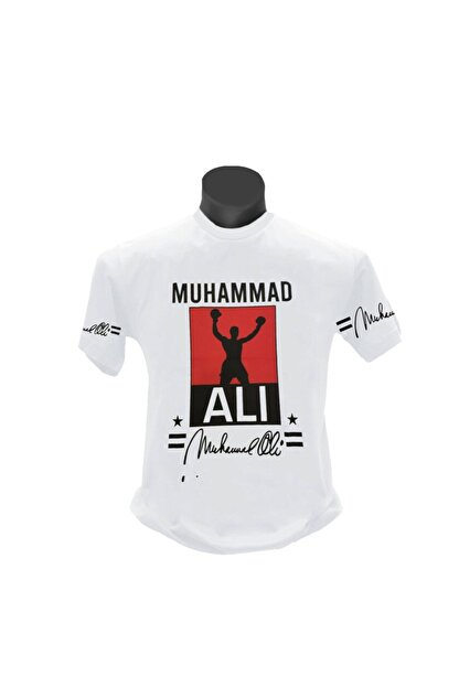 TSHIRTIUM Erkek Beyaz Muhammed Ali Baskılı T-shirt
