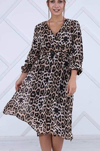Elbise Delisi Kadın Kahverengi Leopar Midi Elbise