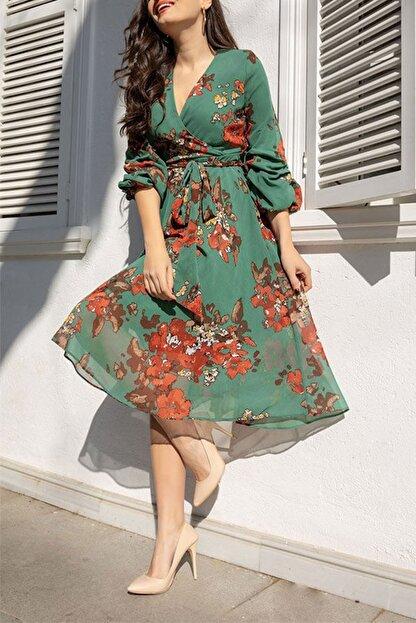 Elbise Delisi Kadın Yeşil Midi Şifon Büyük Beden Elbise