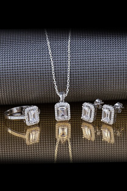 Else Silver Baget Pırlanta Tasarımı Gümüş Takı Seti