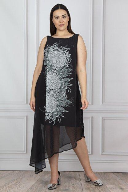 Şans Kadın Siyah Şifon Detaylı Abiye Elbise 65N18195