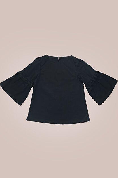 GİST Kız Çocuk Siyah Kolları Dantel Detaylı Bluz