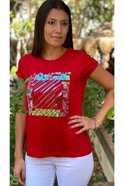 TUĞBALİ Kadın Kırmızı Pul Payet Detaylı Bluz