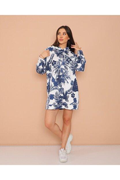 ModaSehle Kadın Lacivert Desenli  İki İplik Sweatshirt Sp1001