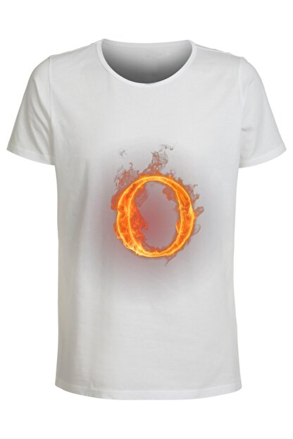 ABC Kadın Beyaz O Harfı Baskılı Büyük Beden T-Shirt
