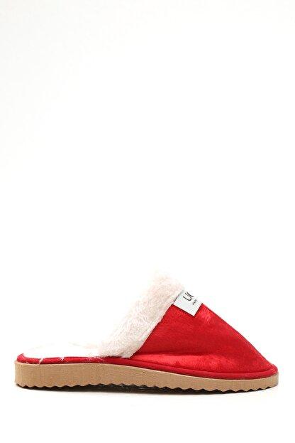 S1441 Kadın Kırmızı Kürklü Süet Ev Terliği