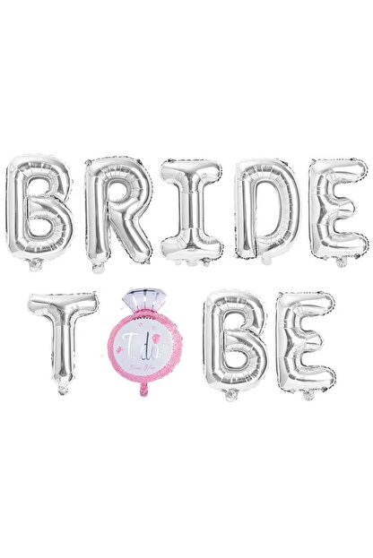Patladı Gitti Tek Taşlı Bride To Be 9 Adet Harf Gümüş Renk Folyo Balon Seti, Bride To Bee Parti Kutlama
