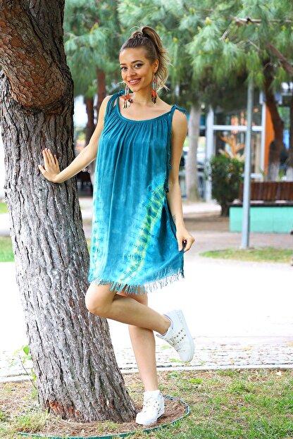 YILSOY TEKSTİL Kadın Yeşil V Desen Batik Elbise
