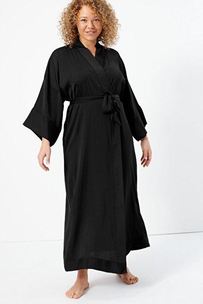 Marks & Spencer Kadın Siyah Saten Uzun Sabahlık T37008479W