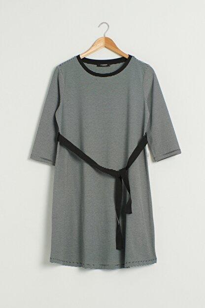 LC Waikiki Kadın Siyah Çizgili Elbise 0WEM99Z8