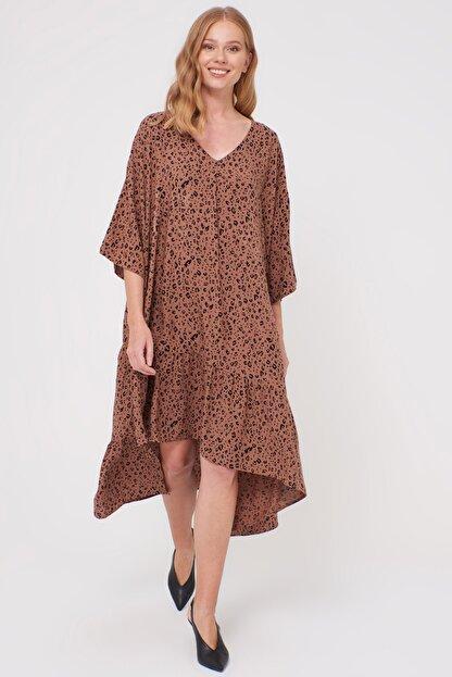 LC Waikiki Kadın Kahverengi Baskı Elbise 0WDF27Z8