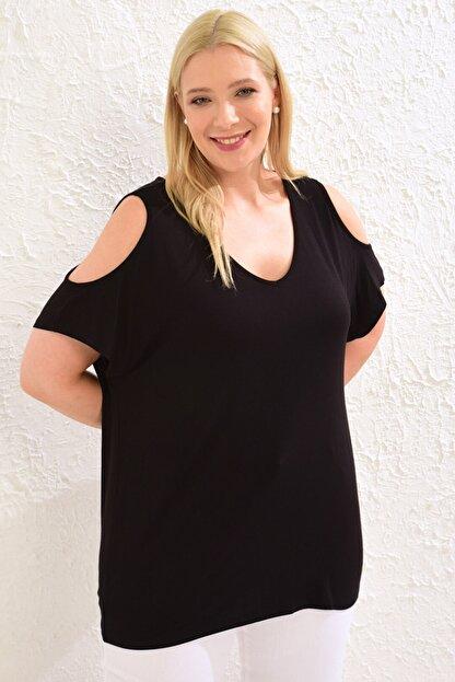 LC Waikiki Kadın Siyah Tişört 0WCC08Z8